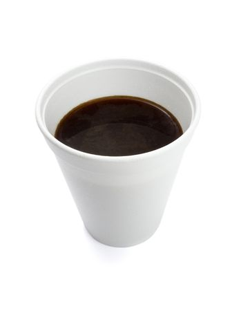 biodegradable material: close up of styro foam coffee cup on white background