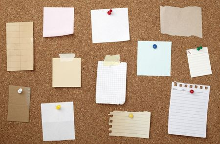 pinboard: collection of various note papers  on cork board