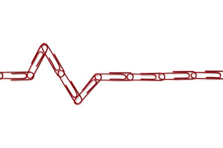 heartbeat sign made of red paper clips on white background photo