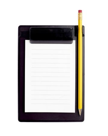 close up of notebook and pencil on white background Stock Photo - 6591031