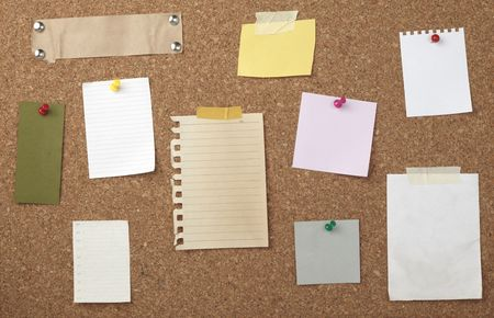 collection of various note papers  on cork board Stock Photo - 6602557