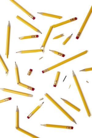 close up of used pencil on white background photo