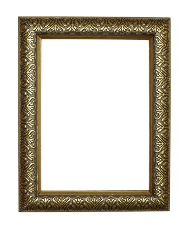 photography backdrop: close up of golden antique frame on white background