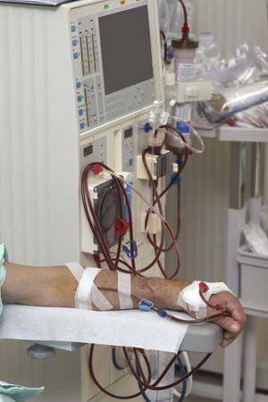 patient helped during dialysis session in hospital Stock Photo - 6662362