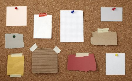 collection of various note papers  on cork board Stock Photo - 6662278