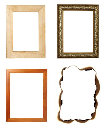 collection of vaus wooden frames on white background. each one is in full cameras resolution Stock Photo - 6694137