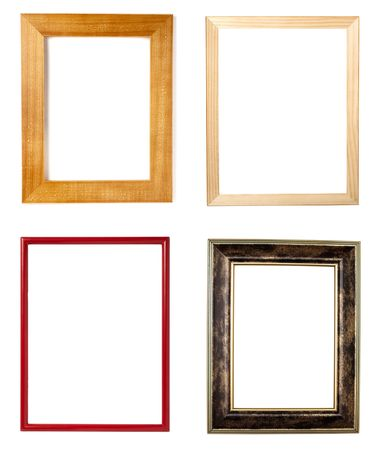 collection of various wooden frames on white background. each one is in full cameras resolution Stock Photo - 6694148