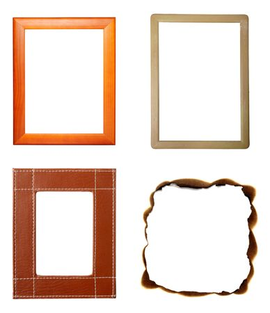collection of various wooden frames on white background. each one is in full cameras resolution photo