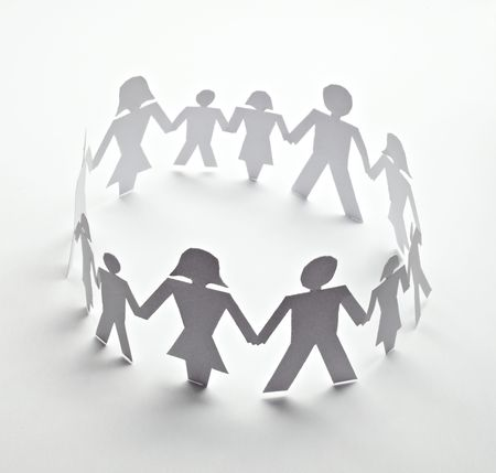 close up of people cut out of paper on white background  photo