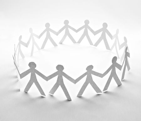 close up of people cut out of paper on white background Stock Photo - 6805510