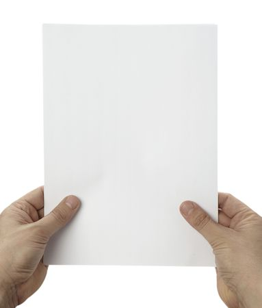 man holding book: close up of hands holding blank white paper