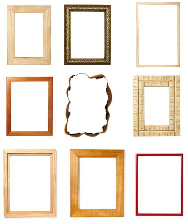 burnt edges: collection of various wooden frames on white background. each one is in full cameras resolution