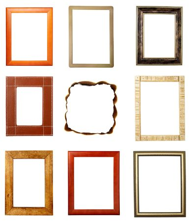 collection of various wooden frames on white background. each one is in full cameras resolution Stock Photo - 6805615