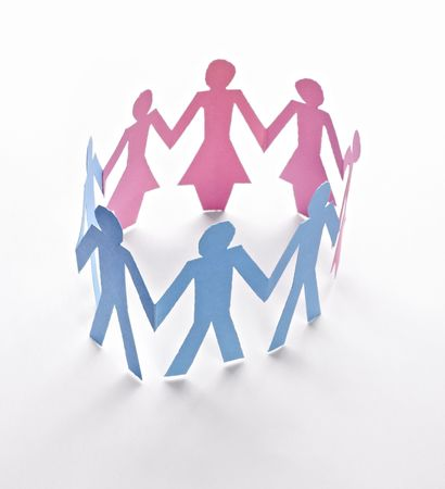 close up of people cut out of paper on white background  Stock Photo - 6805666