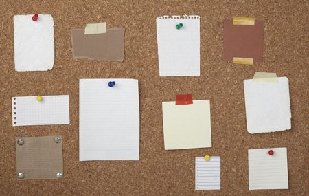collection of various note papers  on cork board Stock Photo - 6805711