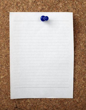 closeup of note paper  on cork board photo