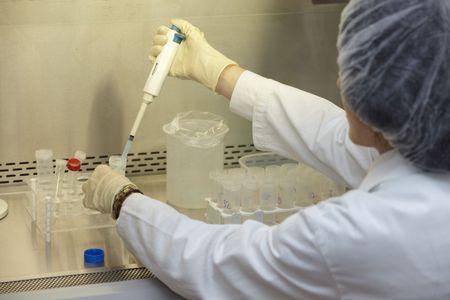 specimen testing: close up of medical worker in lab