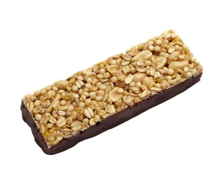close up of muesli bar snack on white background  photo