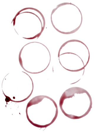 wine stains: close up of wine glass marks on white background  Stock Photo