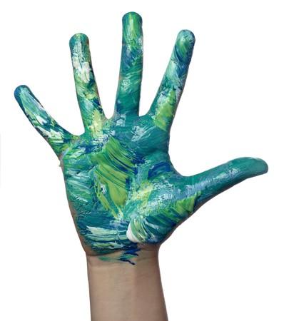 body paint: Close up de manos de ni�o pintadas con acuarelas, sobre fondo blanco  Foto de archivo