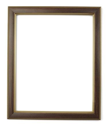 picture frame on wall: close up  wooden frame on white background