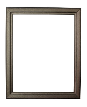 close up wooden frame on white background