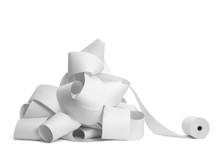 crowded space: close up of a roll of accounting paper on white background