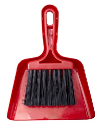 broom handle: close up of broom brush and handle on white background Stock Photo