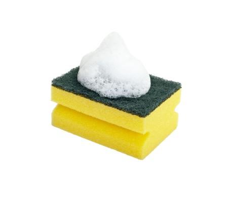 close up of dish washing sponge on white background  photo