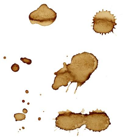 manchas de cafe: Close up de marcas de la taza de caf� sobre fondo blanco  Foto de archivo