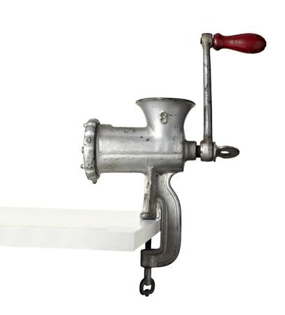 meuleuse: fermeture de hachoir sur fond blanc