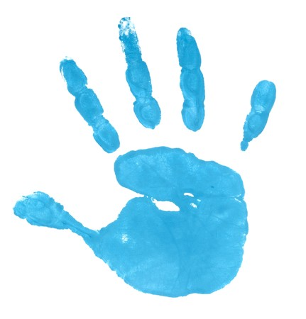 handprint: close up of colored hand print on white background