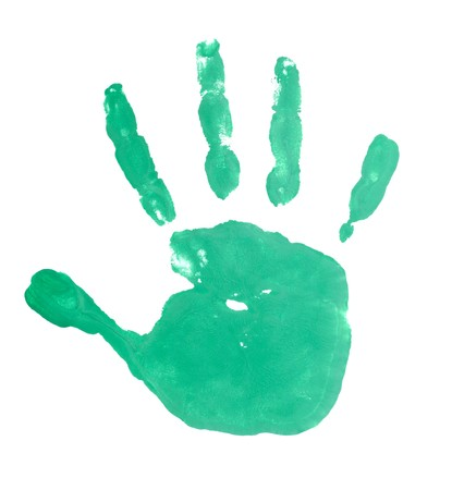 close up of colored hand print on white background Stock Photo - 7068975