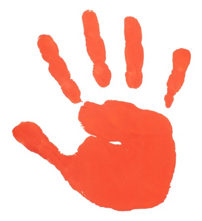 imprints: close up of colored hand print on white background