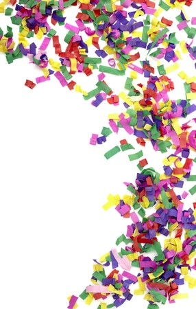 close up of confetti on white background photo