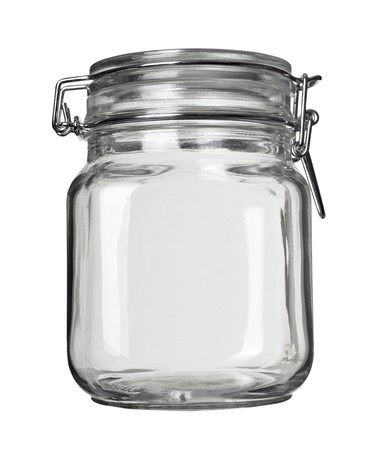 close up of jar on white background  photo