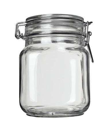 close up of jar on white background  photo