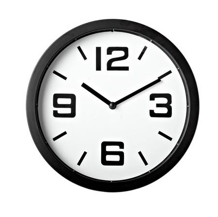 reloj pared: cerca de un reloj de Oficina sobre fondo blanco