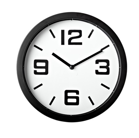 clock icon: close up of an office clock on white background
