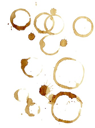 antique dishes: close up of coffee cup marks on white background  Stock Photo