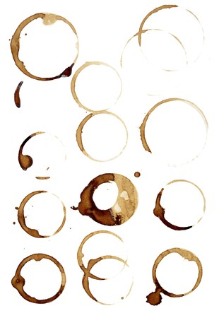 dirty dishes: close up of coffee cup marks on white background  Stock Photo