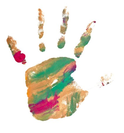 close up of colored hand print on white background Stock Photo - 7069286