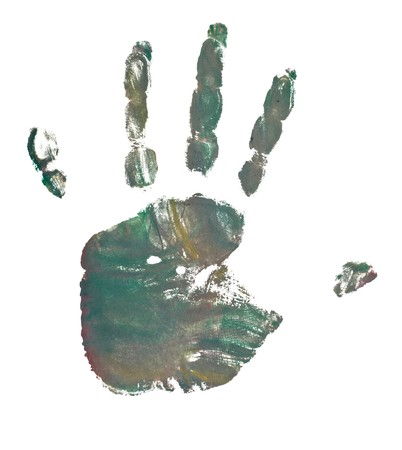 close up of colored hand print on white background Stock Photo - 7069288