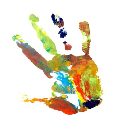 close up of colored hand print on white background Stock Photo - 7069287