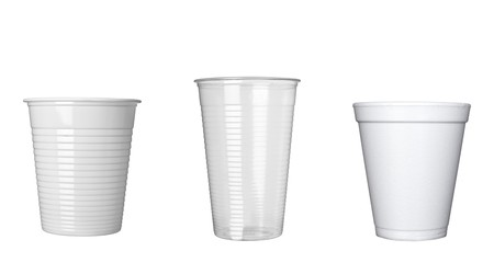 collection of plastic cups of coffee on white background. each one is in full cameras resolution photo