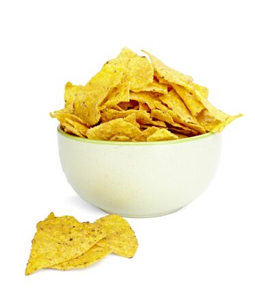 close up of tortilla chips on white background Stock Photo - 7069290