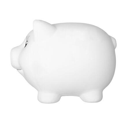 cuenta bancaria: Close up de hucha sobre fondo blanco