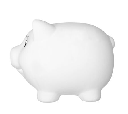bank safe: close up of piggy bank on white background  Stock Photo