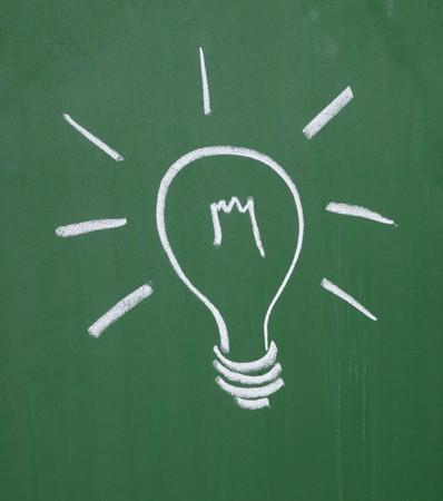 close up of a light bulb drawing on blackboard photo