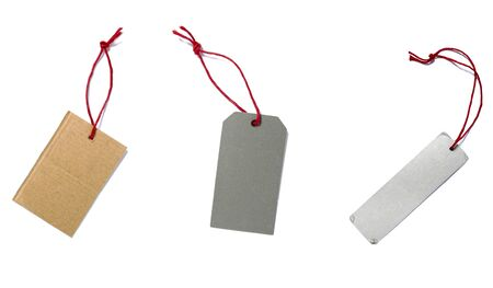 collection of blank price labels on white background. each one is in full camera resolution photo